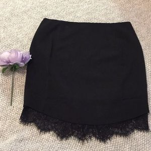 Black mini skirt with lace bottom